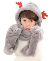 PULAMA Novelty Animal Hat Cosplay Cap - Unisex Fit Adult & Children- Soft Warm Headwraps Headwear with Mittens (Winter Hat Grey)