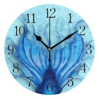 UMIRIKO Mermaid Tail Clock for Bathroom Blue Fish Tail Beautiful Wall Clock for Girl Boy Silent Non Ticking Home Office School Decorative Art Noiseless Round Wall Clock 2020074