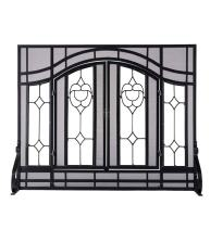 Small Beveled Glass Diamond Fireplace Screen with Alternating Panels and Small Powder-Coated Tubular Steel Frame 38 W x 31 H Black Finish