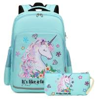 Girls Backpack for Kids Elementary Bookbag Girly School bag Children Laptop Bag (Water blue)