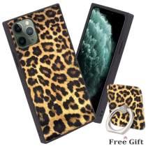 Bitobe Leopard Art iPhone 11 Pro Max 6.5 Inch Square Edges Case with Phone Ring Stand Grip Holder Soft TPU Slim Square Case
