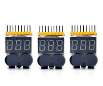 Readytosky RC Lipo Battery Voltage Checker Warning Buzzer Alarm Precision 1S-8S Battery Low Voltage Tester Monitor with LED Indicator(3PCS)