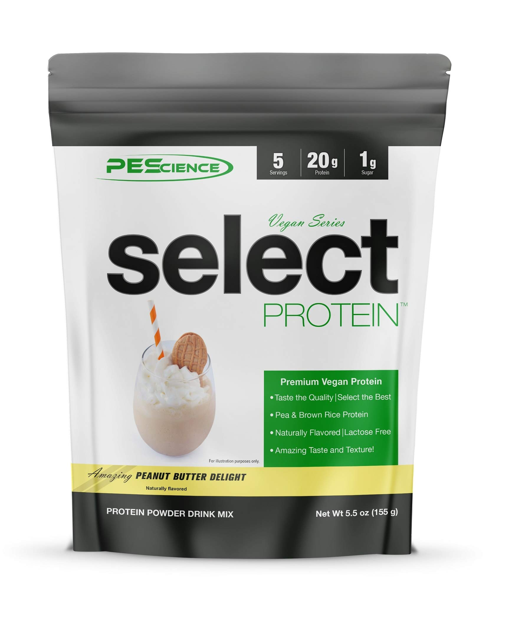 PEScience Select Vegan Plant Based Protein Powder, Peanut Butter Delight, 5 Serving, Premium Pea and Brown Rice Blend
