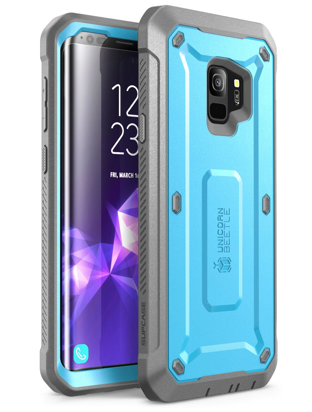 SUPCASE Unicorn Beetle Pro Series Case Designed for Galaxy S9, with Built-In Screen Protector Full-body Rugged Holster Case for Galaxy S9 (2018 Release) (Blue)
