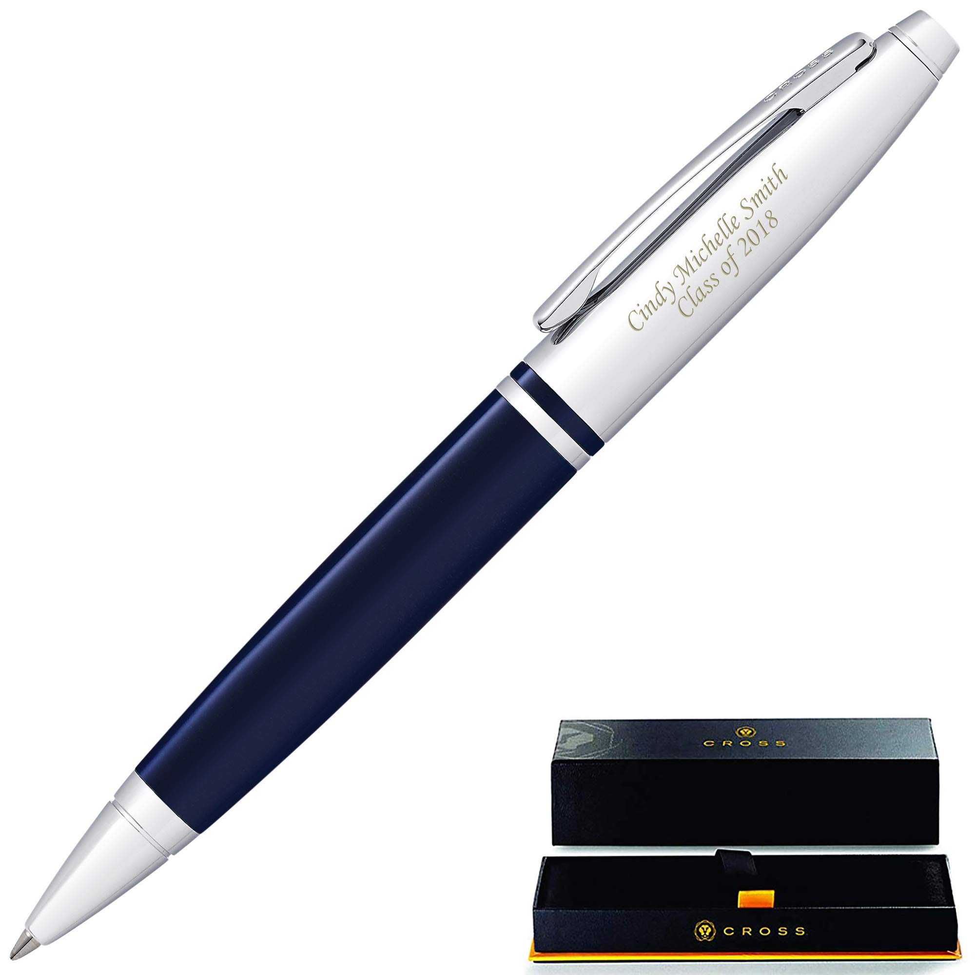 Engraved Cross Pen | Personalized Cross Calais Ballpoint Pen - Blue. 2 Lines of Engraving Included. Customized in 1 day. Graduation Pen, or Gift for Men or Women