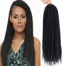 "Befunny 8 Packs 18"" Senegalese Twist Crochet Hair Small Crochet Braids Pre Looped Mini Havana Mambo Twist Crotchet Hair Synthetic Braiding Hair 20strands/pack(18inch, 1B#)"