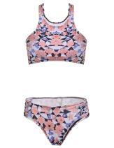 Zeagoo Women's Swimsuit High Neck Racerback Printed Cut Out Bikini Set,Mothers Day Gift