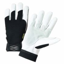 West Chester IRONCAT 86550 HeavyDuty Goatskin Palm Gloves – 1 Pair Large Reinforced Palm and Thumb Spandex Back Hook and Loop Elastic Wrist