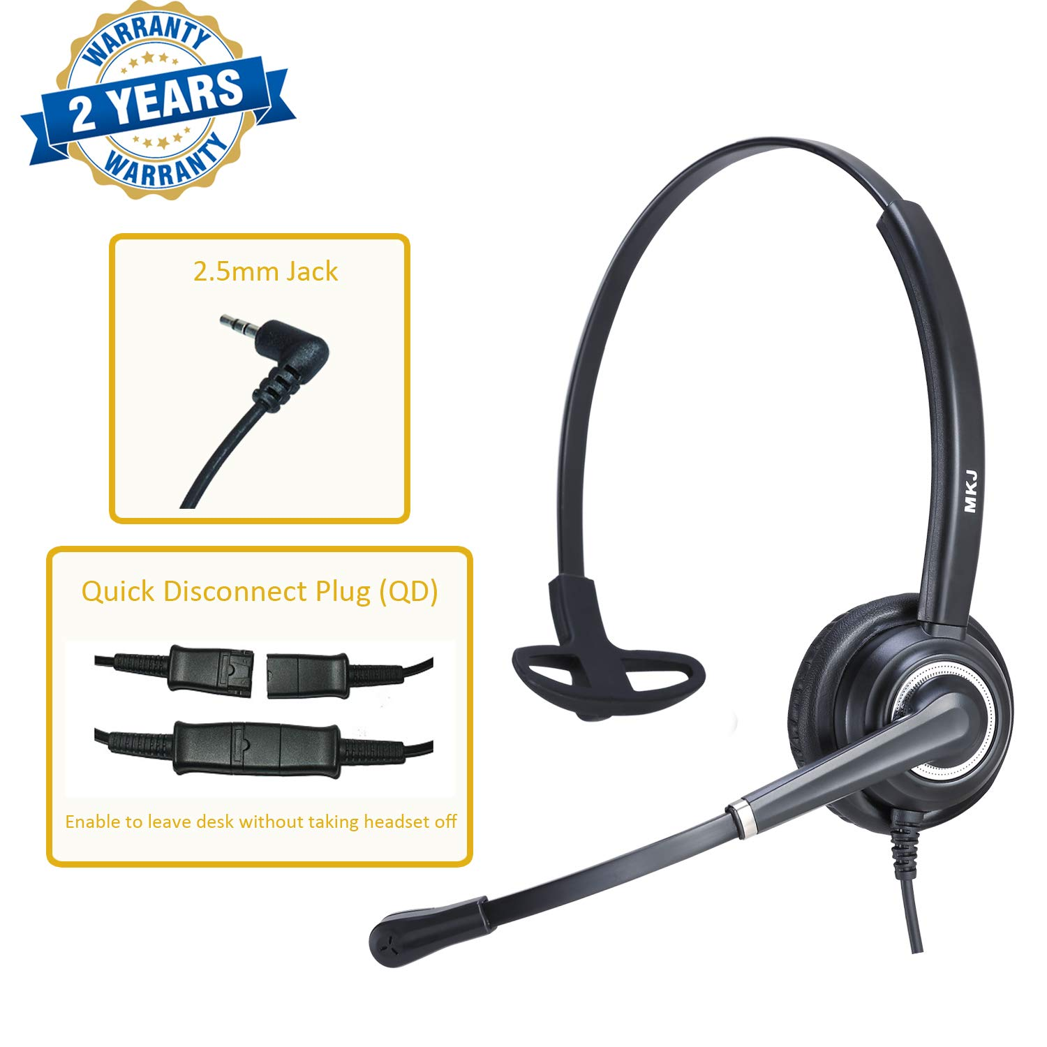 Corded 2.5mm Phone Headset with Noise Cancelling Microphone for Panasonic DECT 6.0 Phones KX-TGF380M KX-TGA680 Cisco SPA303 504G 512G AT&T Cordless TL86103 and Other Dect Telephone