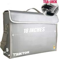 TRIKTON Super Extra Large 18x13x5 Fireproof Safe Bag for Documents with Lock TSA, Holds Legal Size Files Without Bending, XXL Silver, Visible in The Dark, Lock Box for Documents, Fire Water Resistant