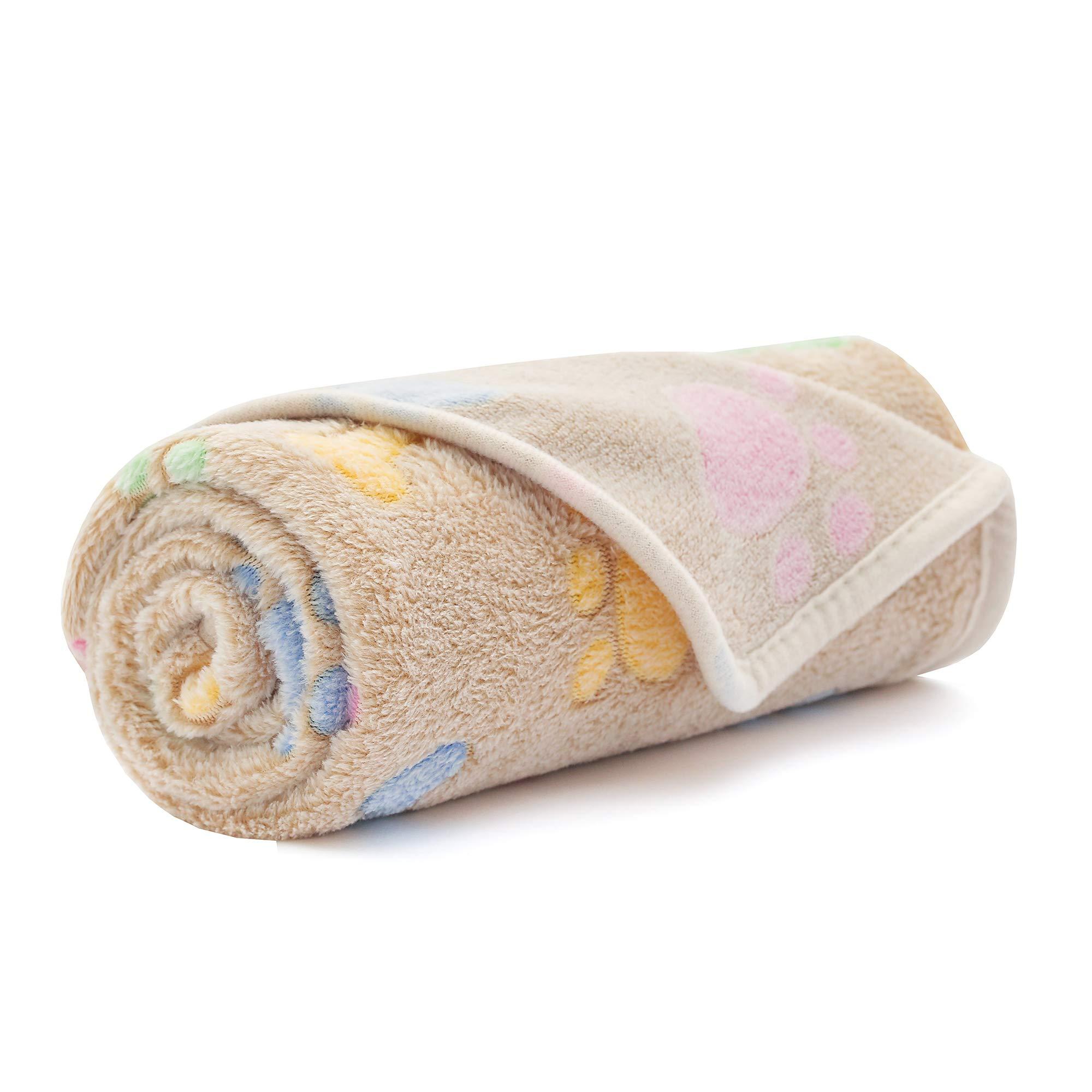 "Luciphia Super Soft Premium Fluffy Fleece Dog Blankets for Puppy Cat Pets Coffee Bone,Small(31""x27"")"