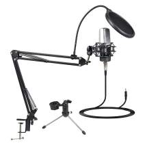Professional Studio Condenser Microphone, MSIZOY Cardioid Mic Kit with Adjustable Scissor Arm Stand Shock Mount Pop Filter for Recording,Gaming,Streaming,Podcasting (3.5mm Microphone)