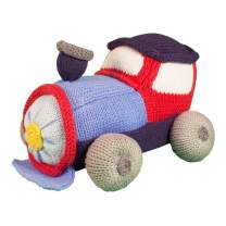 Zubels Baby Timmy The Train Hand-Knit Plush Rattle Toy, All-Natural Fibers, Eco-Friendly, 100% Cotton