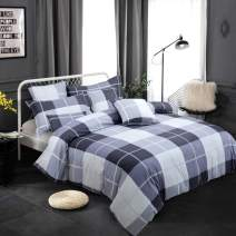 FADFAY 100% Cotton 3 Pieces Duvet Covet Set, Buffalo Check Gingham Plaid Geometric Checker Printed in White Black and Gray, Grid Bedding Sets with Zipper Closure, Twin Duvet Covers