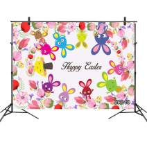 LB 7x5ft Happy Easter Backdrops for Kids Party Photography Cute Rabbit Spring Flower Portrait Photo Background Birthday Cake Table Banner,Customized Photoshoot Studio Props