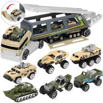 Geyiie Military Truck Set, Mini Die-cast Army Toys Cars in Carrier Truck, Military Vehicle Toys Double Side Transport Truck Battle Car for Boys Kids Toddlers Party Favors Indoor Outdoor Games