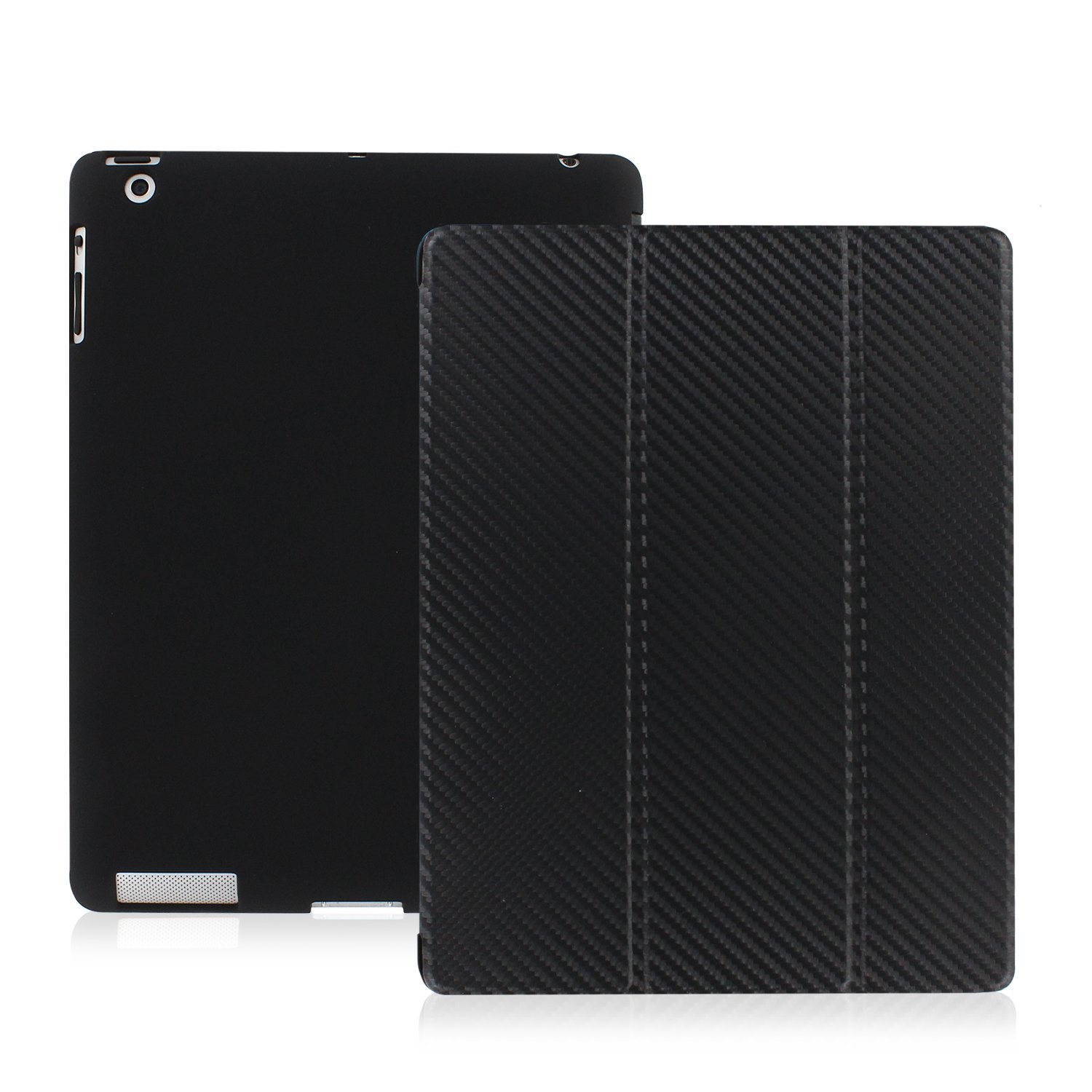 KHOMO - iPad 2 3 and 4 Generation Case - Dual Series - Super Slim Carbon Fiber Cover with Rubberized Back and Smart Auto Wake Sleep Feature for Apple iPad 2, 3rd and 4th
