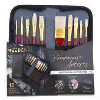 MEEDEN 10 Pcs Paint Brush Set Hog Hair Bristles Includes a Carrying Case for Acrylic Oil Painting, Perfect Gift for Artists, Adults & Kids