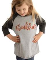 7 ate 9 Apparel Baby's Thankful Thanksgiving Grey Raglan