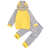 Easter Outfit Baby Boy Girls Rabbit Ear Hoodie Sweatshirt + Striped Long Pants Clothes Sets