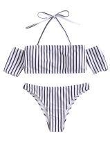 SweatyRocks Women's Sexy Bikini Set Solid Color Off Shoulder Bandeau Two Piece Swimsuit