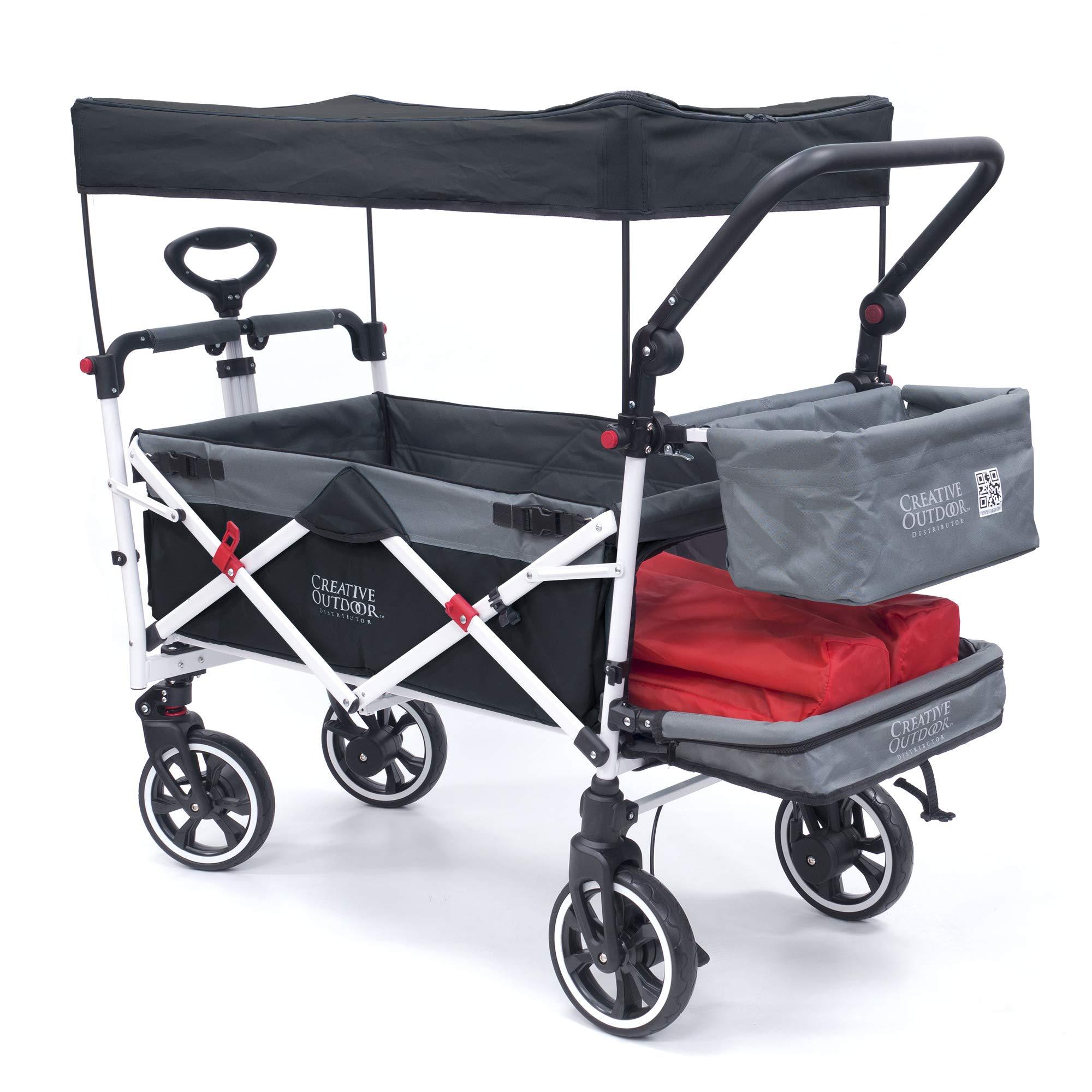 Creative Outdoor Push Pull Collapsible Folding Wagon Stroller Cart for Kids   Titanium Series   Beach Park Garden & Tailgate (Black)