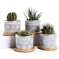 SUN-E 4In Set 2.95Inch Cement Succulent Planter Pots,Cactus Plant Pot Indoor Small Concrete Herb Window Box Container for Home and Office Decor Birthday Wedding Gift Idea With Bamboo Tray Grey-022-023