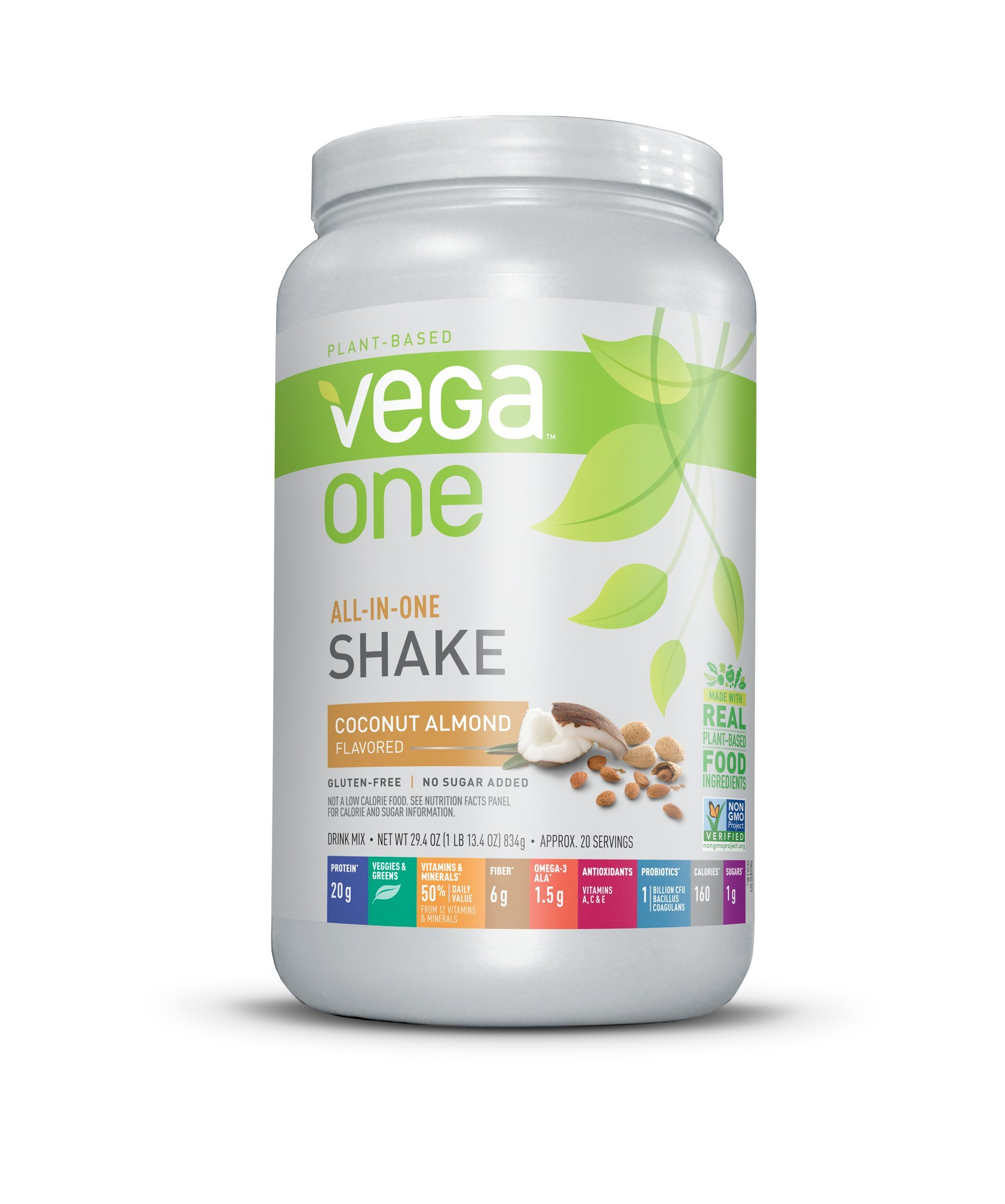 Vega One All-In-One Nutrition Shake Coconut Almond (20 servings) - Plant Based Vegan Protein Powder, Non Dairy, Gluten Free, Non GMO, 29.4 Ounce (Pack of 1)
