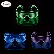 iChase LED Glasses,Light Up Sunglasses EL Wire Neon Flashing Rave Costumes for Party Supplies Party Favors (Blue,Lemon,Purple)