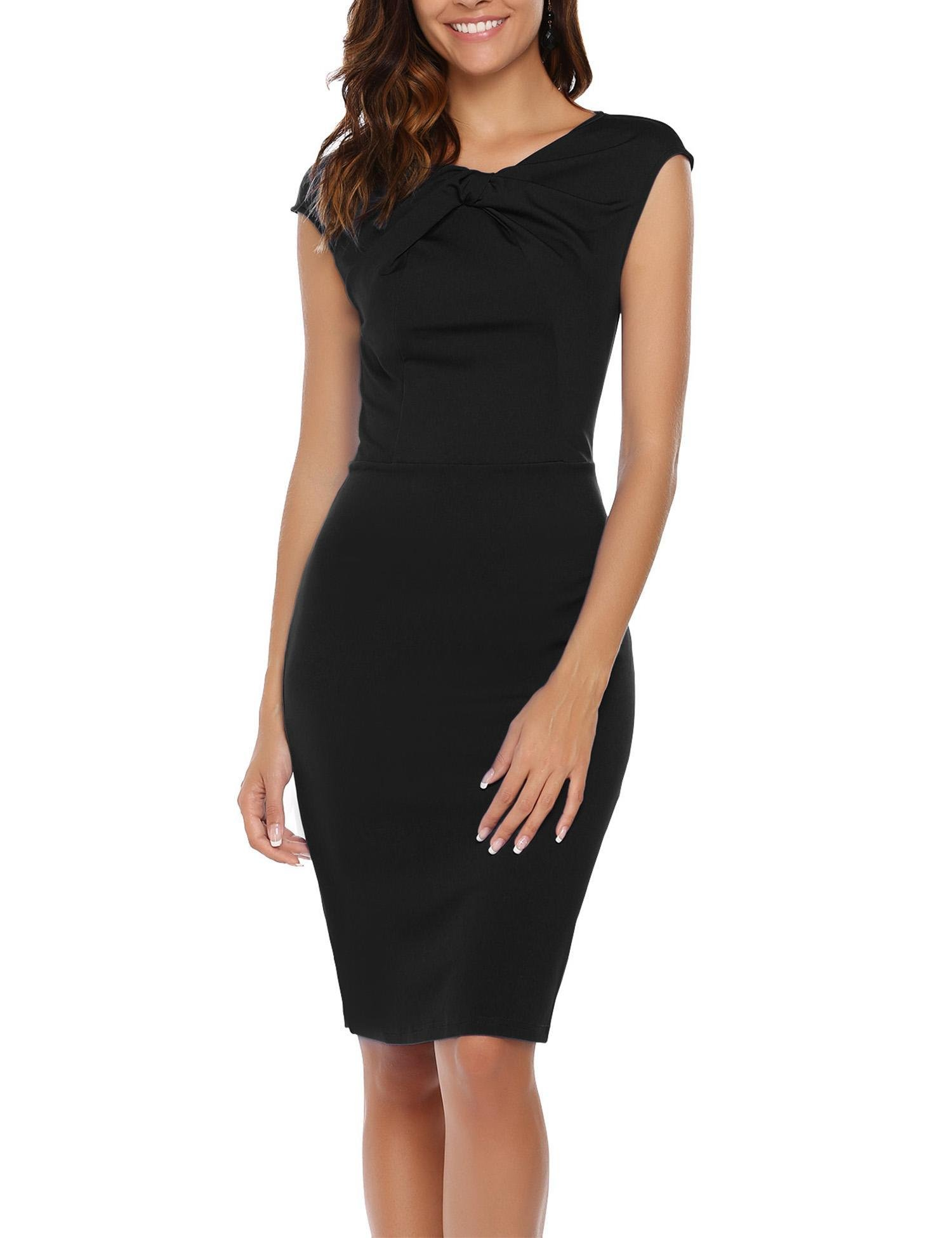 ANGVNS Womens Asymmetric Neckline Ruched Twist Wear to Work Casual Dress Black L