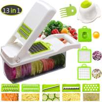 Upgrated Vegetable Chopper Mandoline Slicer and Onion Chopper Dicer, Vegetable Slicer Fruit Cutter Cheese Grater with Multi-Functional Interchangeable Blades