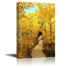 """Canvas Prints Wall Art - Beautiful Autumn Scenery Colorful Fall Foliage Framing a Autumn Scene Along The River 