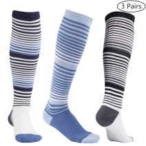 +MD Women Compression Socks 8-15mmHg Knee High Compressive Socks for Air Travel, Running,Athletic,Nurses