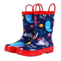 Colorxy Toddler Kids Rain Boots with Easy On Handles, Waterproof Rubber Cute Patterns Wellies Rainboots for Girls & Boys