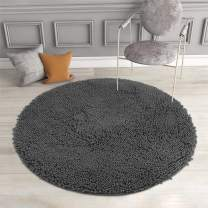 MAYSHINE Absorbent Microfiber Chenille Dog Door Mat, Durable, Quick Drying, Washable, Prevent Mud Dirt (Round 34 inches, Charcoal Gray)
