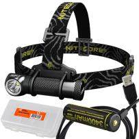 Nitecore HC30 1000 Lumens LED Headlamp Plus NL1834R 3400mAh High-Drain Rechargeable Battery with Built-in Micro-USB Charge Port, LumenTac USB Cable, LumenTac Battery Organizer