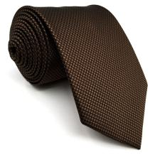 SHLAX&WING Skinny Ties for Men Solid Color Brown Chocolate Necktie Silk Slim
