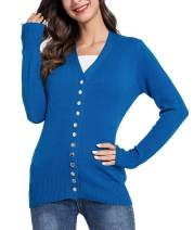 Lomantise Women Open Front Cardigans Sweaters Long Sleeve Casual V-Neck Solid Button Down Knitwear Striped Tops