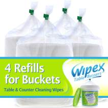 Wipex Table Bussers Refills for Buckets - Natual Formula Table Busser and Counter Wipes - 4 Refill Wipes - 400ct Each