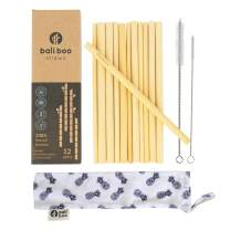 Reusable Bamboo Straw Set of 12 by Bali Boo - Zero Waste Cocktail Smoothie Drinking Straws - Two Stainless Steel Cleaning Brushes & Pouch Bag - Durable & Dishwasher Safe - Eco Friendly Gifts from Bali