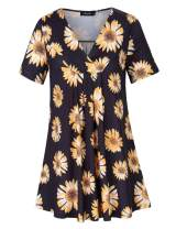AMZ PLUS Women's Plus Size Pleated V-Neck Short Sleeve Floral Print Loose Blouse Casual Tunic Shirt Daisy 2XL