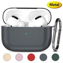 Lerobo Airpods Pro Case Cover,Metal Hard Full Protective Case for Airpod Pro 2019 Ultra Lightweight Carriying Case Supports Wireless Charging Space Gray