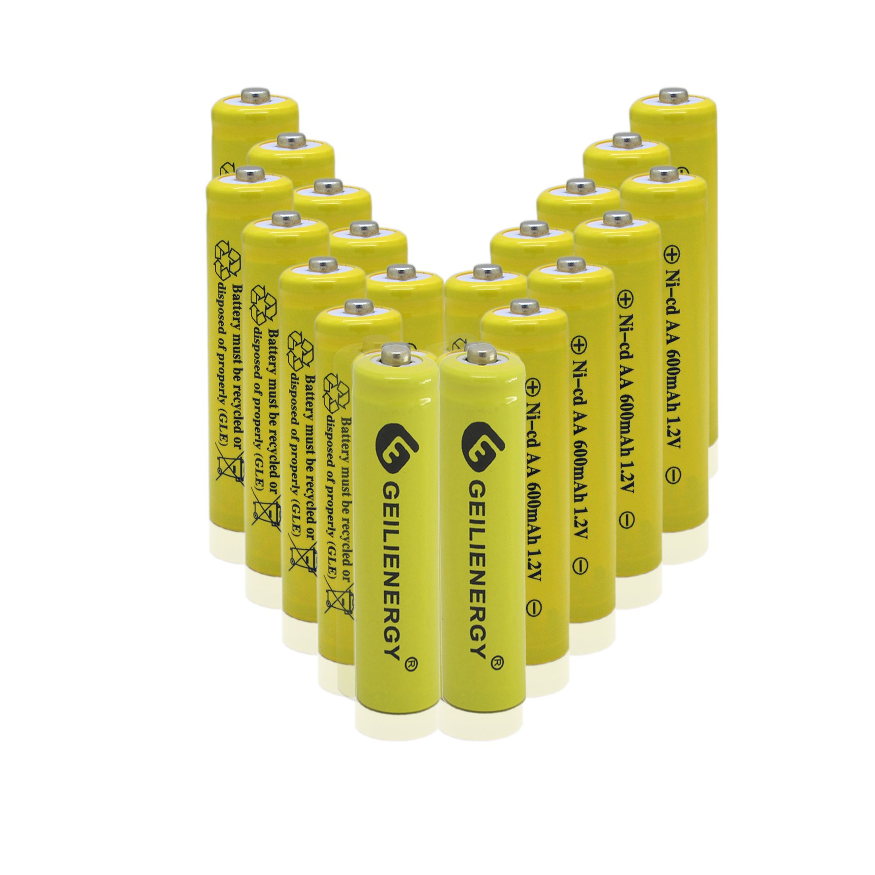 GEILIENERGY AA Size NiCd AA 600mAh 1.2V Rechargeable Batteries for Solar Lamp Solar Light(20 PCS)