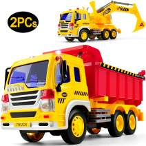 Gizmovine Car Toys Early Construction Toys Vehicles 1:16 Scale Excavator Toy and Dumper Truck Toy Set of 2 Friction Powered with LED and Sounds Outside Toys for Toddler Boy Kids 2, 3, 4, 5 Year Old