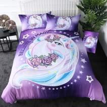 Sleepwish Purple Aqua Unicorn Bedding Sets Twin Size Kids Girls Rose Unicorn Flower Duvet Cover 3 Pieces Dreamy Cartoon Sparkle Lilac Unicorn Bed Set