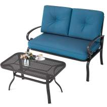 Incbruce Outdoor Patio Furniture Loveseat 2-Piece and Bistro Coffee Table Set Furniture Bench with Cushion, Lawn Front Porch Garden, Steel Frame, Peacock Blue