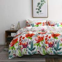 TanNicoor Boho Duvet Cover,Hotel Quality Lightweight Microfiber Bedding Set,Watercolor Floral Plants Pattern Printed on White,Soft Comfortable with Zipper Closure Comforter Cover(3pcs, King Size)