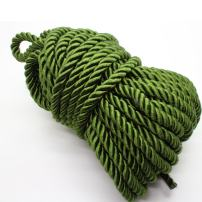U Pick 10yds 5mm Decorative Twisted Satin Polyester Twine Cord Rope String Thread Shiny Cord Choker Thread (17:Olive Green)