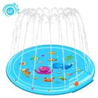 """Rexin Splash Pad,68"""" Sprinkler Toy for Kids Children Toddlers Boys and Girls Perfect Inflatable Water Toys Outdoor Summer Splash Play mat Toddler Water Toys"""