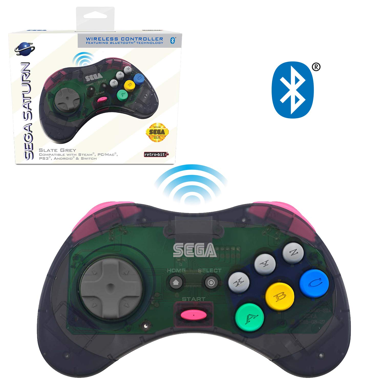 Retro-Bit Official Sega Saturn Bluetooth Controller 8-Button Arcade Pad for Nintendo Switch, PC, Mac, Amazon Fire TV, Steam - Slate Grey